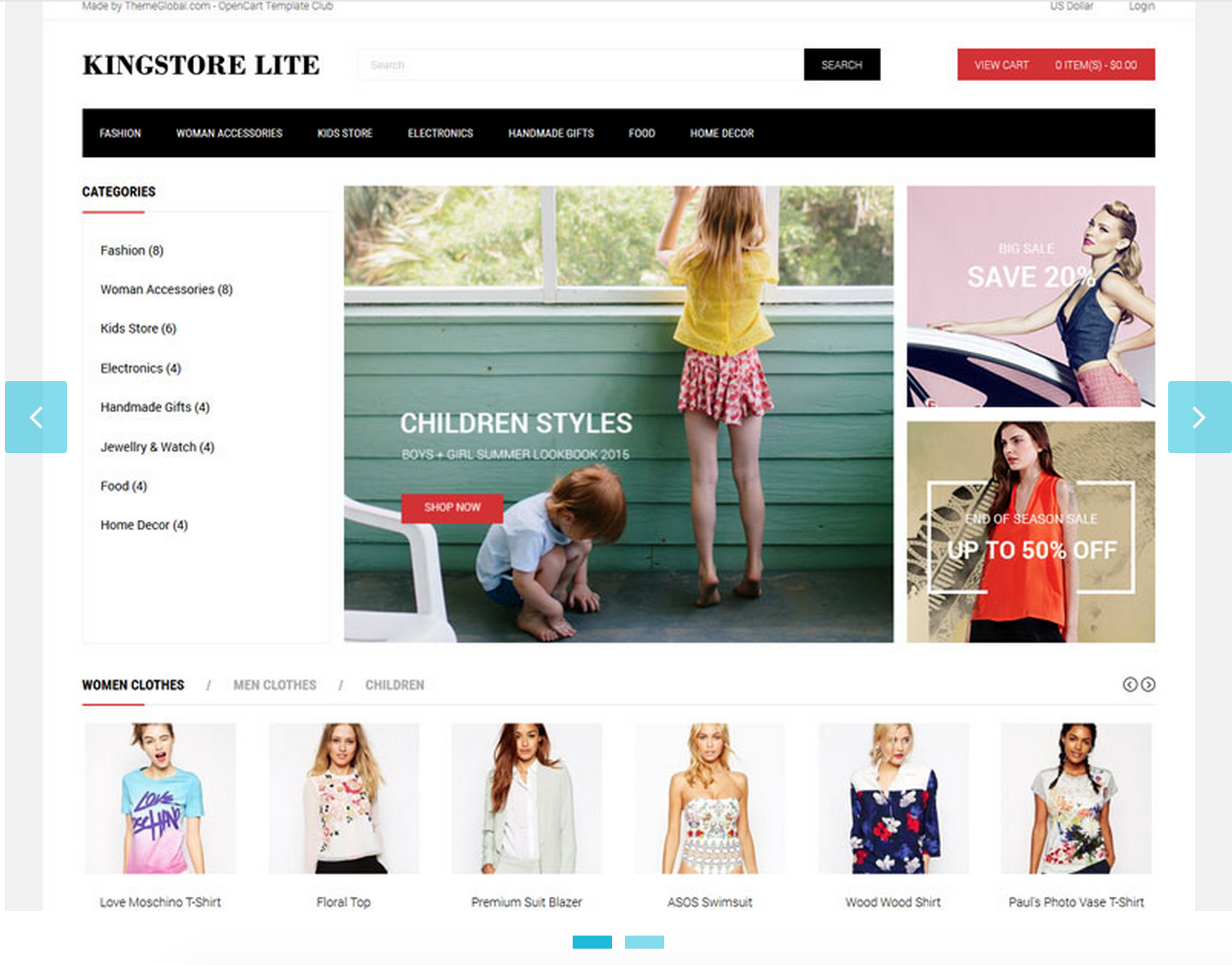 Kingstore Lite theme opencart